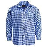 Bongossi-Trade Trachtenhemd für Trachten Lederhosen Freizeit Hemd blau-kariert XL