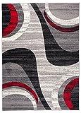 Carpeto Teppich Modern Wellen Abstrakt Muster Trend Meliert in Grau, Rot - ÖKO TEX (200 x 300 cm)