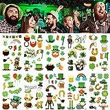 Qpout St.Patrick's Day Temporäre Tattoos, 10 Blatt St. Patrick's Day Kinder Tattoo, Green Shamrock Leprechauns Irische Flagge Goldmünzendesign, Für St.Patrick's Day Partydekoration Mitgeb