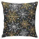 Moshow Kissenbezüge Kissenbezüge Dekoration Rinde Handgezeichnetes Winterweihnachtsmuster mit Gold Weiß Schwarz auf dem Schlafsofa 45X45 cm