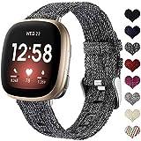 Ouwegaga Stoff Armband Kompatibel mit Fitbit Versa 3 Armband/Fitbit Sense Armband, Atmungsaktiv Nylon Woven Ersatz Armband Kompatibel mit Fitbit Sense/Versa 3 für Damen Männer, Klein Schwarz Grau