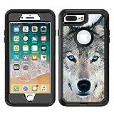 Teleskins Schutzhülle für iPhone 8 Plus / iPhone 7 Plus, Vinyl, Motiv 'Blue Eyed Wolf Face'