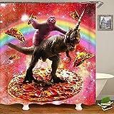 kuanmais Lustige duschvorhang lustige faultier fahrt Dinosaurier und Pizza duschvorhang Badezimmer Dekoration formbeständig wasserdicht mit 12 Haken 150x180cm