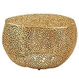 FineBuy Couchtisch 65x45x65 cm Aluminium Gold Design Loungetisch Rund | Sofatisch Aststruktur Metall | Wohnzimmertisch Modern | Stubentisch Klein Orientalisch