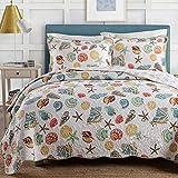 Qucover Tagesdecke 220x240 mit Muscheln Muster, Decke aus Baumwolle mit Kissen Set, Gesteppte Bettüberwurf, Grundfarbe in Weiß