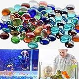 CGH Dekorative Glaskiesel, abgerundete Steinperlen, Steine, Edelsteine für Dekorationszwecke im Aquarium (300 g gemischte Kieselsteine)