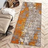Carpeto Rugs Modern Läufer Flur Teppich Abstrakt Muster - Kurzflor Teppichläufer für Flur, Küche, Schlafzimmer, Esszimmer - Flurläufer in Versch. Größen und Farben - Orange Grau 80 x 300 cm