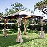Ausrüstung Metall Pavillon 2-stufiges Dach Festzelt Party Zelt Baldachin Pavillion Patio Shelter mit Mesh Vorhang Seitenwände Garten Outdoor 3,2 x 3,2M