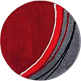 Erwin Müller Badematte, Badteppich, Badvorleger rutschhemmend rot Größe rund: 90 cm Ø - kuscheliger Hochflor, für Fußbodenheizung geeignet (weitere Farben, Größen)
