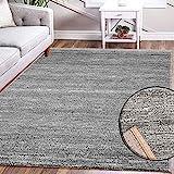 VIMODA Teppich Modern Grau Kurzflor Meliert Farbecht Pflegeleicht, Maße:80 x 300 cm