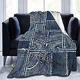 Ultra Soft Micro Fleece Durable Blue Denim Patchwork Decke Weiche Warme Decke Blatt für Bett Bettwäsche Sofa Büro Wohnzimmer Wohnkultur-50*40in