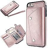 WIWJ [Nicht für iPhone 6/6S] iPhone 6 Plus Hülle,iPhone 6S Plus Leather Handyhülle, Wallet Case Modisch Leder Handy Shell mit Geldbörse Schutzhüllen für iPhone 6 Plus/iPhone 6S Plus-Roség