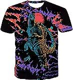 Godzilla VS King Kong T-Shirt Childs TeensT-Shirt Basic Rundhalsausschnitt 3D Printing Shirt for Boy Girl Summer Tops Tee (Godzilla1,M)