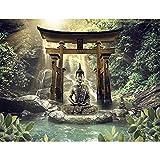 Fototapete Buddha Wasserfall 352 x 250 cm - Vlies Wand Tapete Wohnzimmer Schlafzimmer Büro Flur Dekoration Wandbilder XXL Moderne Wanddeko - 100% MADE IN GERMANY - 9331011