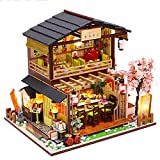 Fsolis DIY Puppenhaus Miniatur-Kit mit Möbeln, 3D Holz Miniaturhaus mit Staubschutz und Musikbewegung, Miniatur Puppenhaus Kit Kreatives Geschenk M2011