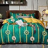 Bettbezug 200x220,Sommer Eisseide vierteilig Set, nordische Stil seidige hautfreundliche waschbare Seidebezug Einzelbett Einzelbettwäsche Geschenk-J_2.0m Bett (4 stücke)