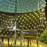 LED Lichternetz,Lichterkette Netz mit Fernbedienung & 8 Modi, Lichterkettennetz für Partydekoration Wohnzimmer Kinderzimmer (Warmweiß, 3*2m 320 LEDs)