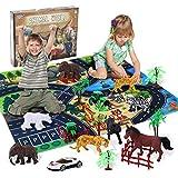 Ulikey Safari Tierfiguren Spielzeug Set mit Spielmatten, Dschungel Tierfiguren Realistischte Wildtier, Pädagogisches Lernen Tiere Tierspielzeug Geschenke für Jungen Mädchen Tierthema-Partys