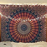 Craftozone Multicolored Mandala Tapestry Indian Wall Hanging, Bed Sheet, Comforter Picnic Beach Sheet, Quality Hippie (Dark Blue, Double)