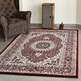 VIMODA Klassisch Orient Teppich dicht gewebt in Dunkel Rot, Maße:80 x 150