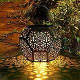 LED Solar Laterne Aussen GolWof Solarlaterne für Außen Solarleuchte Garten Hängend Outdoor Deko Solarlampen für Außen Wasserdichte Solar Licht Garten Rautenform für Terrasse Pathway - Silb