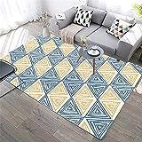 Anpassbar Halls Kinderteppich Blue. Wohnzimmer Teppich Blaues gelbes Dreieck Gekritzel Durable Teppichwasserwäsche sanft prägnant Kinderteppich 200x300cm 6ft 6.7''X9ft 10.1''