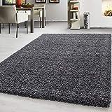 Teppich hochflor Shaggy Teppich modern einfarbig langflor Wohnzimmer teppiche, Maße:140 cm x 200 cm, Farbe:G