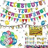 Hook Deko Einschulung Schuleinführung Schulanfang Jungen, Girlande Alles Gute Zum Schulanfang + 20 Einschulung Luftballons + ABC 123 Schultüte Motiv + Konfetti + Folienballon für Jungen Mädchen