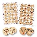 SET 96 Stück weihnachtliche Geschenkaufkleber Weihnachtsaufkleber mit Text Frohe Weihnachten rot beige schwarz-weiß natur Kraftpapier-Optik Aufkleber Weihnachtsgeschenke Verpackung Etiketten