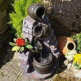 AMUR Zimmerbrunnen Gartenbrunnen Brunnen Zierbrunnen Brunnen Springbrunnen Vogelbad TONZIEGEL mit RGB Licht 230V Wasserfall Wasserspiel für Garten, Gartenteich