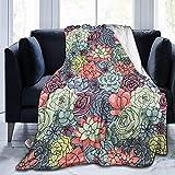 Decke mit farbigen Sukkulenten und Kaktusblumen, Flanell-Fleece-Überwurf, Decken für Baby, Kinder, Herren, Damen, weich, warm, Queen-Size-Größe und Überwürfe für Couch, Bett, Reisen