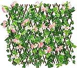 Garten Dekorative Zäune Holzzaun mit künstlichem Efeu-Blatt, mit einziehbarer Hedges, der Gitterzaun mit Privatsphäre für den Garten ausdehnt (Color : Pink, Size : Medium)