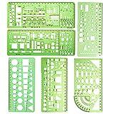 6 Stück Kunststoff Mess Lineal Gebäude Schalung Schablonen Geometrische Zeichnung Herrscher für Büro und Schule Vorlagen für Zeichnungen, aus Kunststoff, Lineale für Büro und Schule Studio Schule