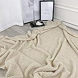 Decke hochwertige Wohndecken Kuscheldecken, extra warm Sofadecke/Couchdecke in zweiseitig, super flausch Fleecedecke als Sofaüberwurf oder Wohnzimmerdecke -Leichte Aprikose_110 cm x 150 cm