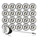 GU10 Brandschutz Keramik Fassungen VDE RoHS 230-250 Volt 2A max.100W 0,75mm2 Kabel LED Halogen (hier: 20 Stück)