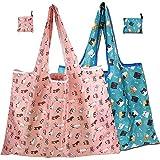 MNEUSHOP Wiederverwendbare Einkaufstaschen, faltbar, tragbar, umweltfreundlich, waschbar, mit Schultergurt, für den täglichen Gebrauch, Reisen, 2 Stück