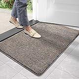 DEXI Schmutzfangmatte,rutschfeste Fußmatte für Innen und Außen,Waschbar Eingangsteppich Saugstarke Türmatte - Sauberlaufmatte 50 x 80 cm,Braun-blau