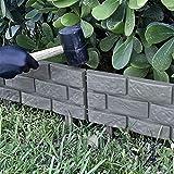 gouxia74534 schwarz Beetzaun aus wetterfestem Kunststoff, Zaun,rasenkante,staketenzaun,schöner Dekozaun, beeteinfassung,mit Erdspießen,4-teiliges Set, 1.8m