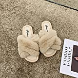 COQUI flip Flop Herren,Haarschuhe, Frauen tragen Haarschuhe, Baumwollschuhe, koreanische Version der Pelz-Hausschuhe-Khaki_39.