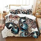 YVSNSZZ Leinen Bettwäsche 220×230cm Bettbezug Warm Bettwaren & Bettbezüge für Erwachsene Kinder Jungen Mädchen,3D Druck Bilder Schmetterlingsbettwäsche with Kissenbezug,Modern Bettwäsche.