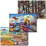 GREAT ART® Set mit 3 Kinder-Poster – City View – Junge Mädchen Kindergarten Autos Flugzeug Comicstyle Zimmer Foto-Plakat Dekor Wand-Bild Inneneinrichtung (Din A2-42 x 59,4)