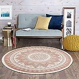 SHACOS Retro Runder Baumwollteppich mit Quasten böhmische Handwebteppich Abwaschbar für Wohnzimmer Schlafzimmerteppich Rund 120cm