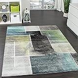 Paco Home Designer Teppich Kariert Modern Trendig Meliert Eyecatcher in Grau Türkis Grün, Grösse:70x140 cm