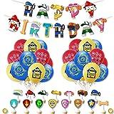 CYSJ 36 Stück Luftballon Geburtstag Dekoration Set für Paw Dog Patrol Latexballon Happy Birthday Banner Kuchen Toppers für Paw Dog Patrol Tortendeko