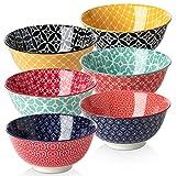 DOWAN Müslischale aus Porzellan 680ml, Salatschüssel Keramik, Suppenschalen, Suppenschüssel, Müslischüsseln, Mehrfarbig, 6er Pack
