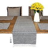 Chevron Tischläufer – 35,6 x 182,9 cm Fransen Rustikale Tischmatte Traditionelle Vintage Tischdecke Schickes großes Tischset in Schwarz, Blau und Beige Farmhouse (Tischläufer 183 cm, schwarz)