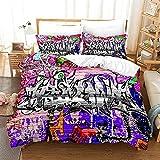 Bedclothes-Blanket Sommer Bettbezug,Sandet dreiteilig Hip Hop Street Trend Muster 3D-6_260 * 220 cm.