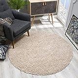 SANAT Teppich Rund - Beige Hochflor, Langflor Modern Teppiche fürs Wohnzimmer, Schlafzimmer, Esszimmer oder Kinderzimmer, Größe: 120x120 cm
