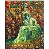 Wandbild Königin der Schwerter Tarot Art Grußkarte Psychedelic Gypsy Pagan Witch Mythologie Göttin Wandkunst Poster und Drucke-50X70Cmx1 No Frame