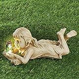 Boy Statue Kreative Garten Kinder Solar beleuchtete Glühwürmchen Außendekoration Gartenstatue Yard Outdoor Skulptur Dekor Glühwürmchen-Gartenstatue für Kinder Gartenfigur aus Steing